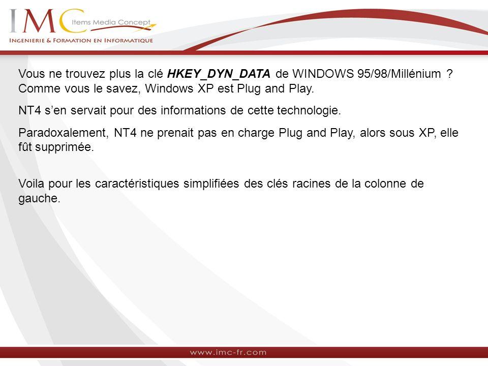 Vous ne trouvez plus la clé HKEY_DYN_DATA de WINDOWS 95/98/Millénium ? Comme vous le savez, Windows XP est Plug and Play. NT4 sen servait pour des inf