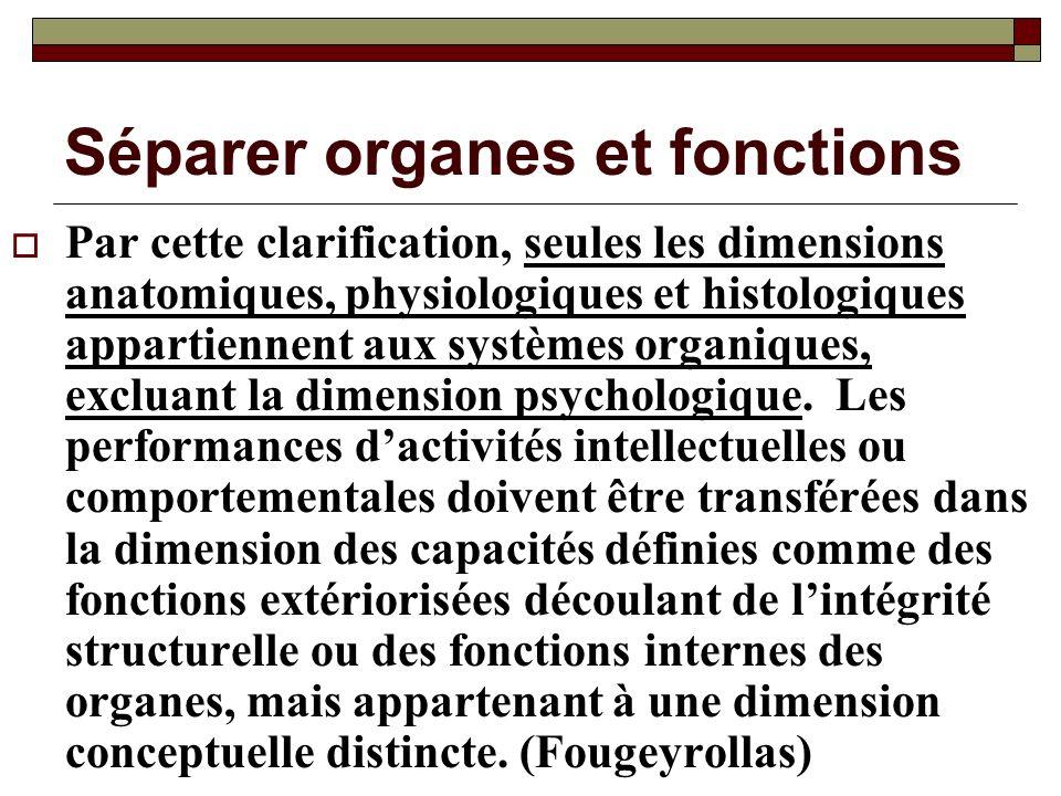 Séparer organes et fonctions Par cette clarification, seules les dimensions anatomiques, physiologiques et histologiques appartiennent aux systèmes or