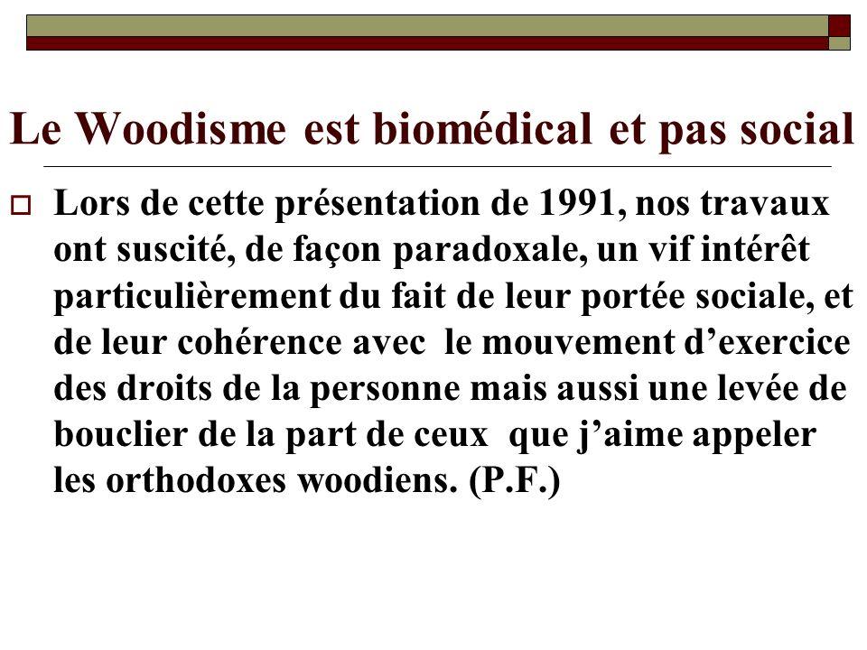 Le Woodisme est biomédical et pas social Lors de cette présentation de 1991, nos travaux ont suscité, de façon paradoxale, un vif intérêt particulière