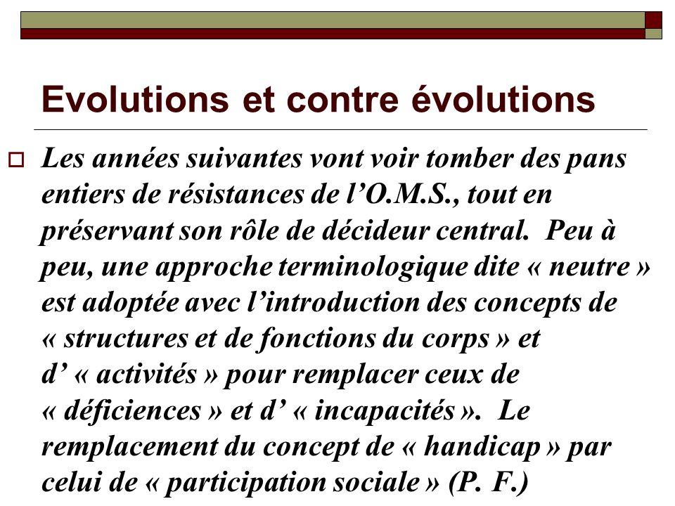 Evolutions et contre évolutions Les années suivantes vont voir tomber des pans entiers de résistances de lO.M.S., tout en préservant son rôle de décid