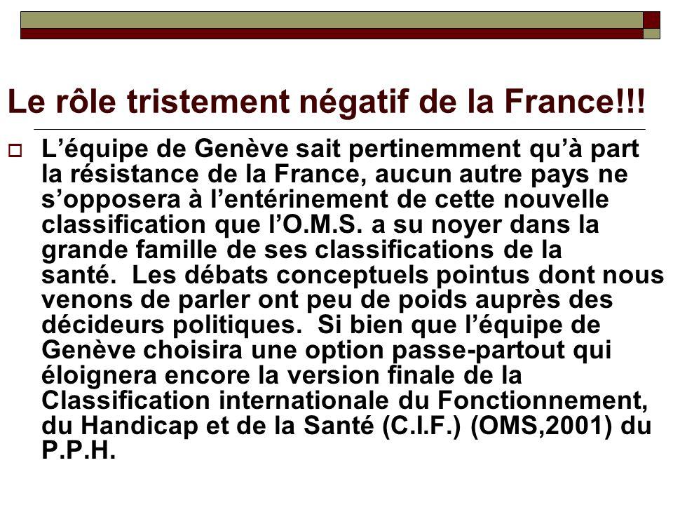 Le rôle tristement négatif de la France!!! Léquipe de Genève sait pertinemment quà part la résistance de la France, aucun autre pays ne sopposera à le