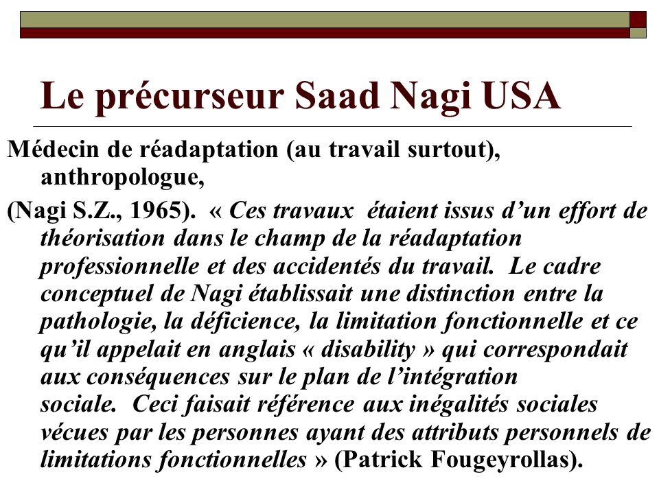 Le précurseur Saad Nagi USA Médecin de réadaptation (au travail surtout), anthropologue, (Nagi S.Z., 1965). « Ces travaux étaient issus dun effort de