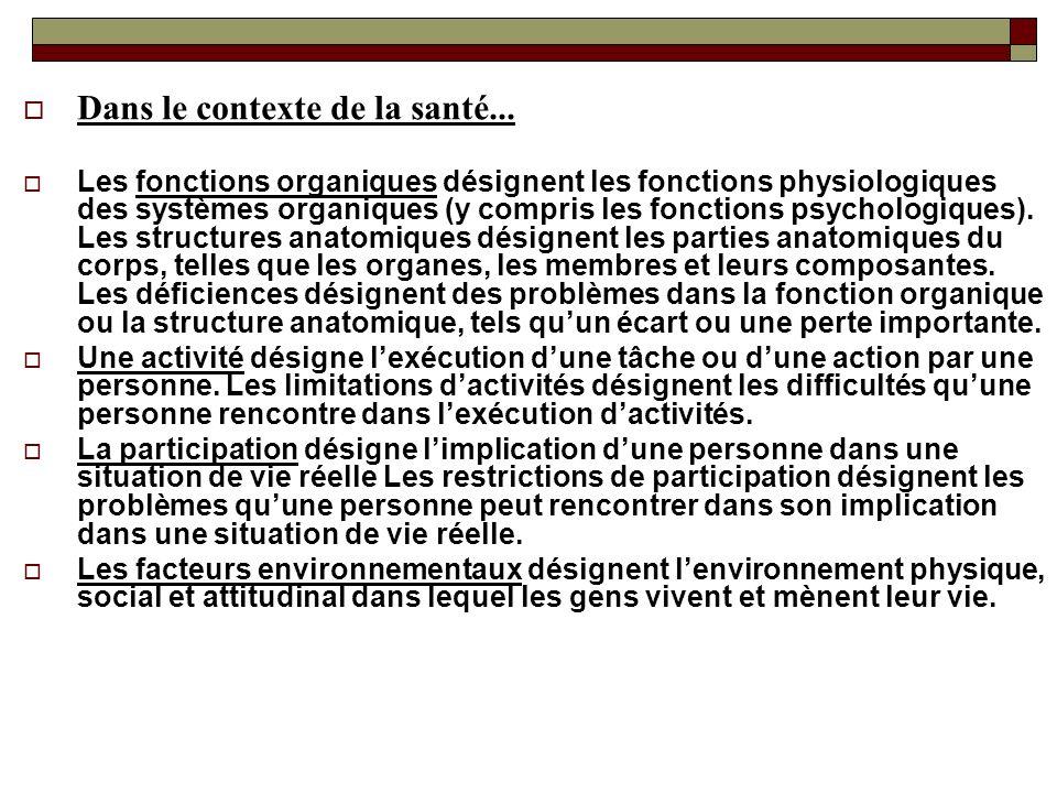Dans le contexte de la santé... Les fonctions organiques désignent les fonctions physiologiques des systèmes organiques (y compris les fonctions psych