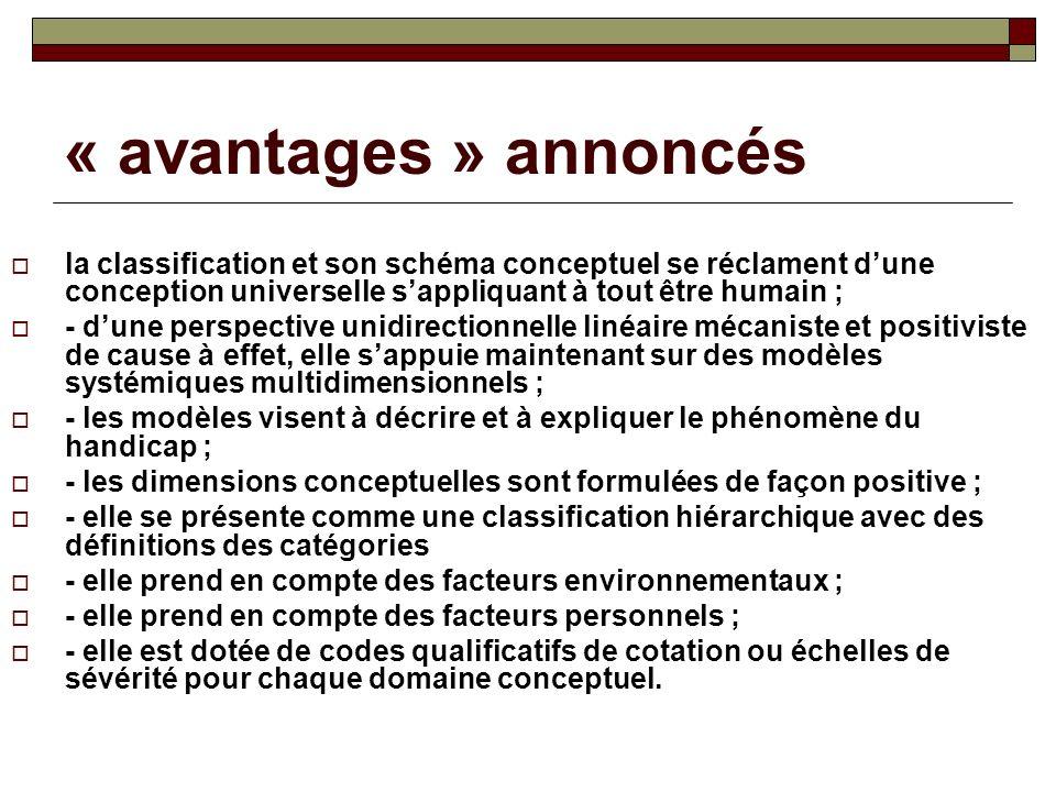 « avantages » annoncés la classification et son schéma conceptuel se réclament dune conception universelle sappliquant à tout être humain ; - dune per