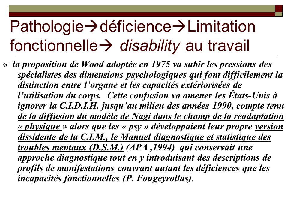 Pathologie déficience Limitation fonctionnelle disability au travail « la proposition de Wood adoptée en 1975 va subir les pressions des spécialistes