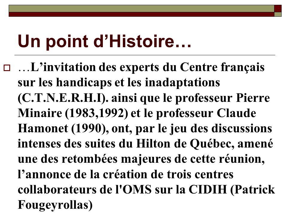 Un point dHistoire… …Linvitation des experts du Centre français sur les handicaps et les inadaptations (C.T.N.E.R.H.I). ainsi que le professeur Pierre