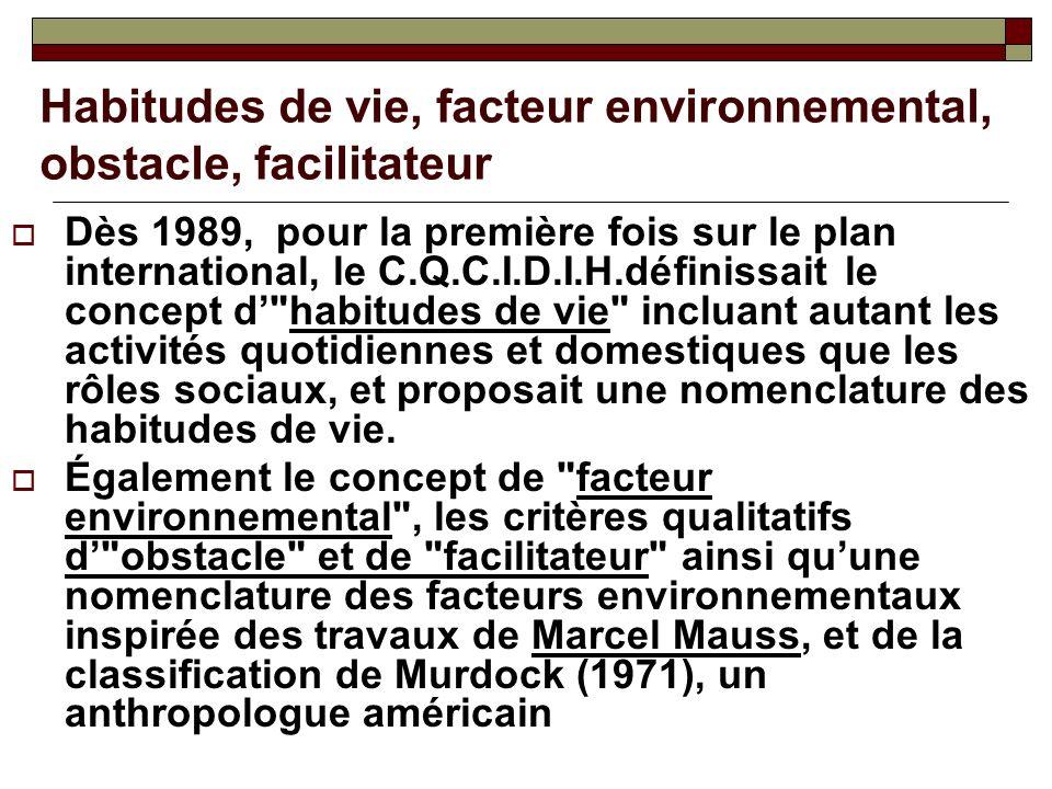 Habitudes de vie, facteur environnemental, obstacle, facilitateur Dès 1989, pour la première fois sur le plan international, le C.Q.C.I.D.I.H.définiss