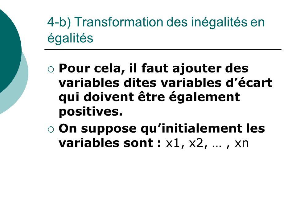 4-b) Transformation des inégalités en égalités Pour cela, il faut ajouter des variables dites variables décart qui doivent être également positives. O
