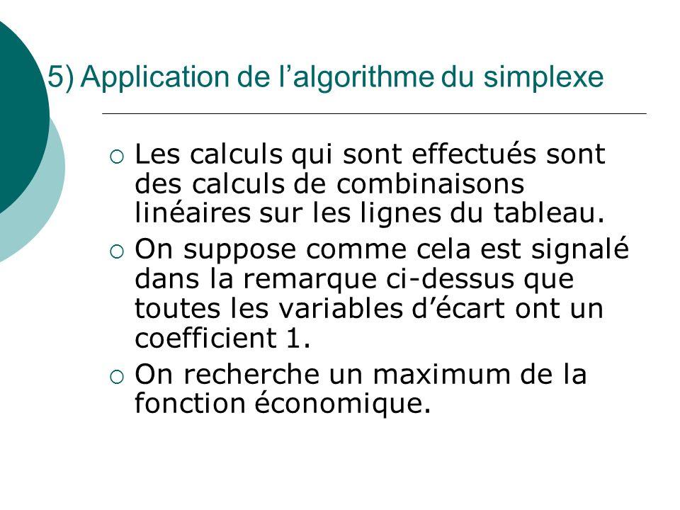 Les calculs qui sont effectués sont des calculs de combinaisons linéaires sur les lignes du tableau. On suppose comme cela est signalé dans la remarqu