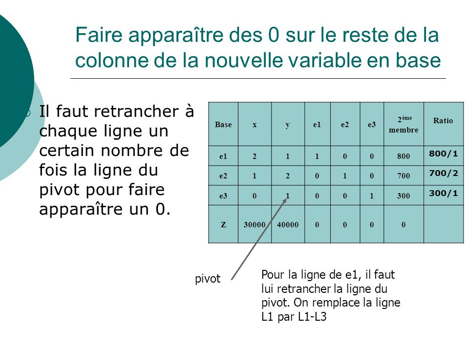 Faire apparaître des 0 sur le reste de la colonne de la nouvelle variable en base Il faut retrancher à chaque ligne un certain nombre de fois la ligne