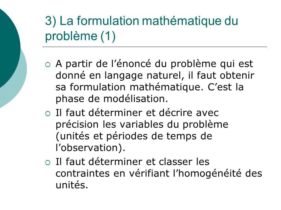 3) La formulation mathématique du problème (1) A partir de lénoncé du problème qui est donné en langage naturel, il faut obtenir sa formulation mathém