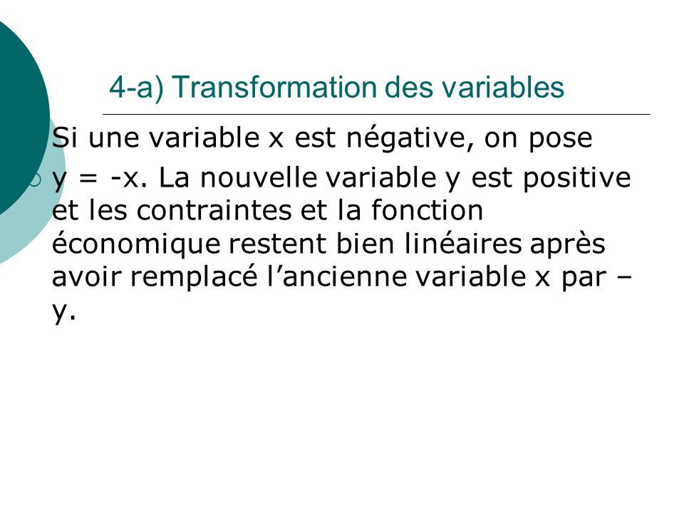 4-a) Transformation des variables Si une variable x est négative, on pose y = -x. La nouvelle variable y est positive et les contraintes et la fonctio