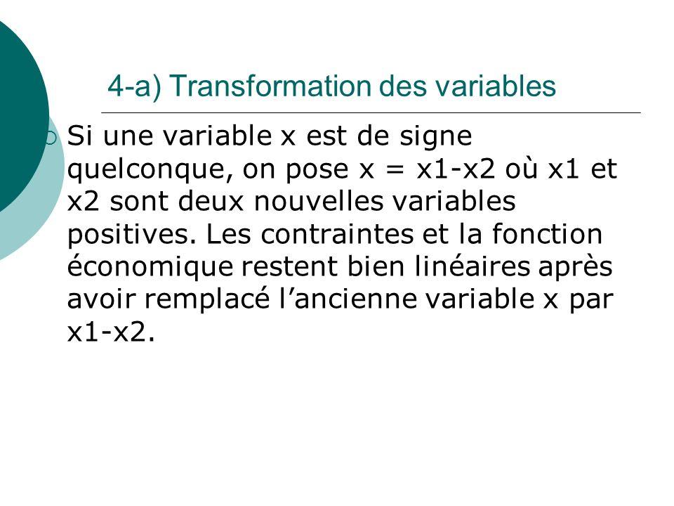 4-a) Transformation des variables Si une variable x est de signe quelconque, on pose x = x1-x2 où x1 et x2 sont deux nouvelles variables positives. Le