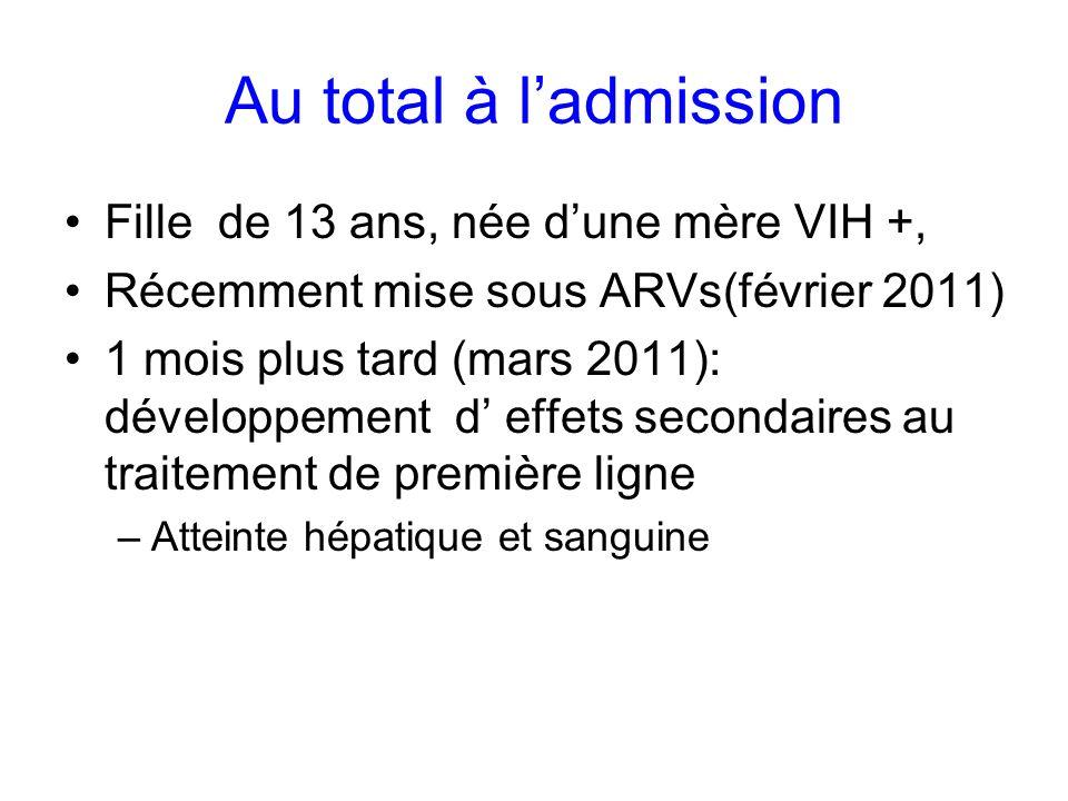 Au total à ladmission Fille de 13 ans, née dune mère VIH +, Récemment mise sous ARVs(février 2011) 1 mois plus tard (mars 2011): développement d effet