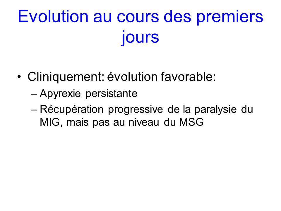 Evolution au cours des premiers jours Cliniquement: évolution favorable: –Apyrexie persistante –Récupération progressive de la paralysie du MIG, mais
