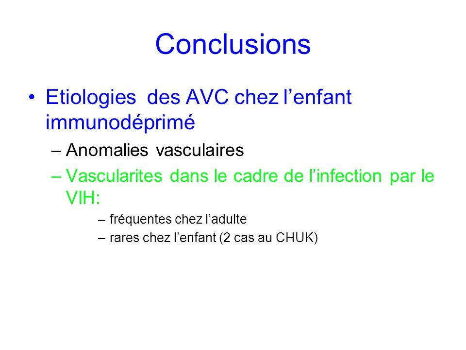Conclusions Etiologies des AVC chez lenfant immunodéprimé –Anomalies vasculaires –Vascularites dans le cadre de linfection par le VIH: –fréquentes che
