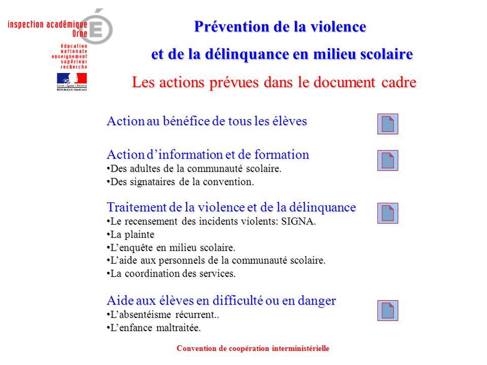 Prévention de la violence et de la délinquance en milieu scolaire Prévention de la violence et de la délinquance en milieu scolaire Convention de coop