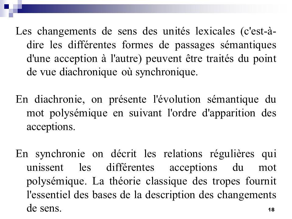 18 Les changements de sens des unités lexicales (c'est-à- dire les différentes formes de passages sémantiques d'une acception à l'autre) peuvent être