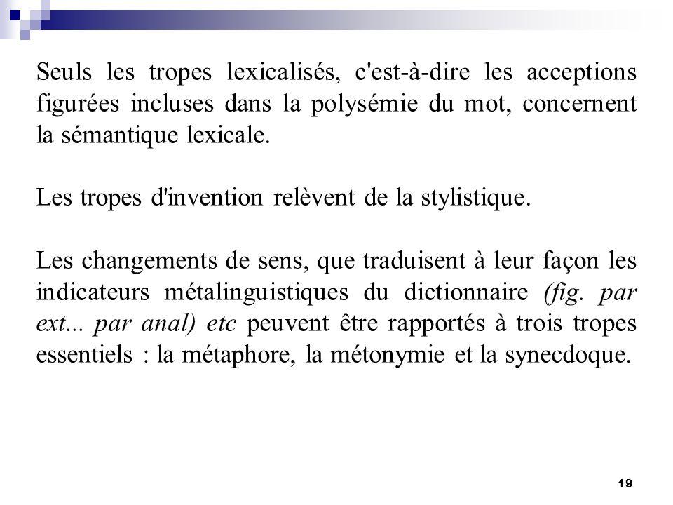 19 Seuls les tropes lexicalisés, c'est-à-dire les acceptions figurées incluses dans la polysémie du mot, concernent la sémantique lexicale. Les tropes