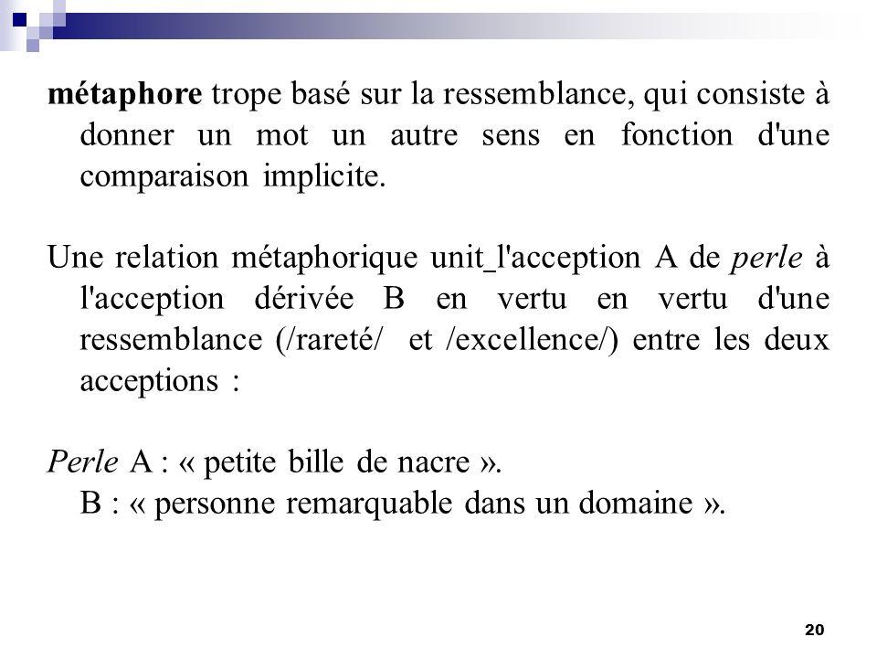 20 métaphore trope basé sur la ressemblance, qui consiste à donner un mot un autre sens en fonction d'une comparaison implicite. Une relation métaphor