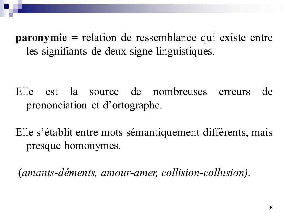 6 paronymie = relation de ressemblance qui existe entre les signifiants de deux signe linguistiques. Elle est la source de nombreuses erreurs de prono