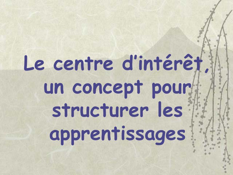 Le centre dintérêt, un concept pour structurer les apprentissages