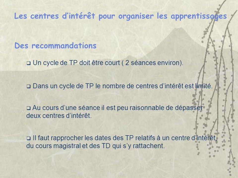 Un cycle de TP doit être court ( 2 séances environ). Les centres dintérêt pour organiser les apprentissages Des recommandations Au cours dune séance i