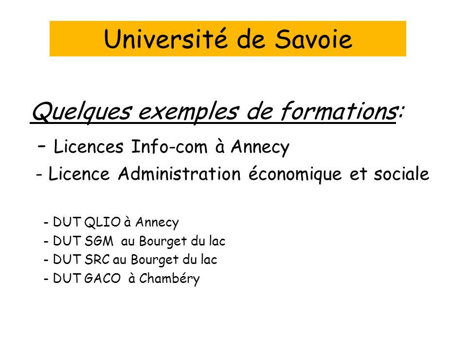 Quelques exemples de formations: - Licences Info-com à Annecy - Licence Administration économique et sociale - DUT QLIO à Annecy - DUT SGM au Bourget