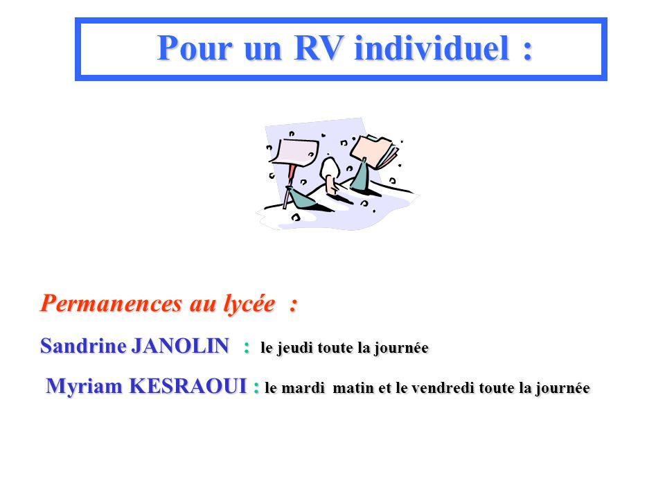 Permanences au lycée : Sandrine JANOLIN JANOLIN : le jeudi toute la journée Myriam KESRAOUI KESRAOUI : le mardi mardi matin et le vendredi toute la jo