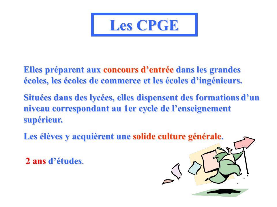 Les CPGE Elles préparent aux concours dentrée dans les grandes écoles, les écoles de commerce et les écoles dingénieurs. Situées dans des lycées, elle