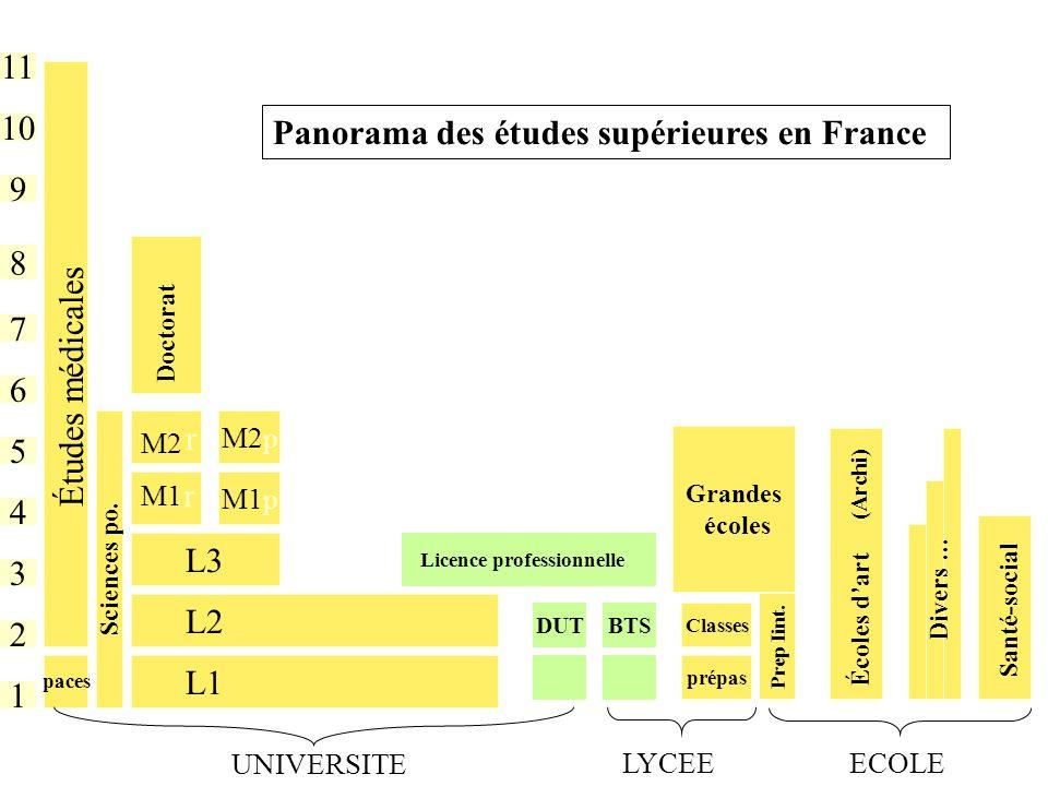 1 11 10 2 9 8 7 6 5 4 3 DUT L1 M1 L2 L3 L2 Études médicales M2 BTS Licence professionnelle Classes prépas Grandes écoles Doctorat Prep Iint.