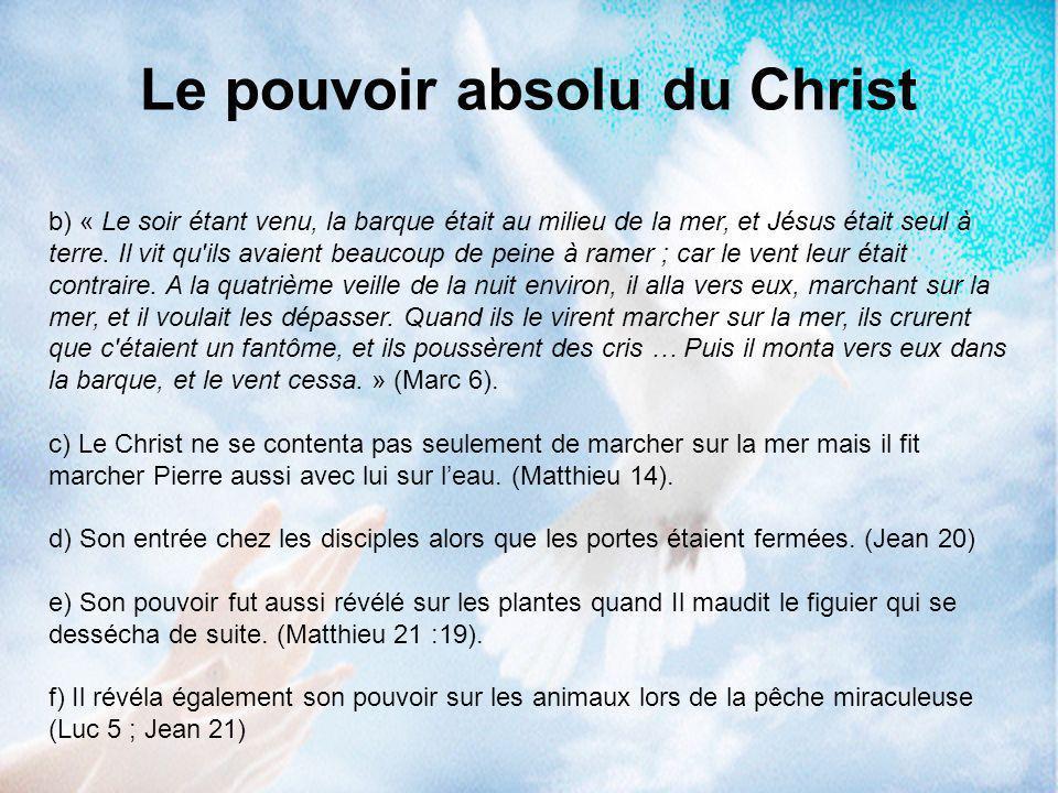 b) « Le soir étant venu, la barque était au milieu de la mer, et Jésus était seul à terre. Il vit qu'ils avaient beaucoup de peine à ramer ; car le ve
