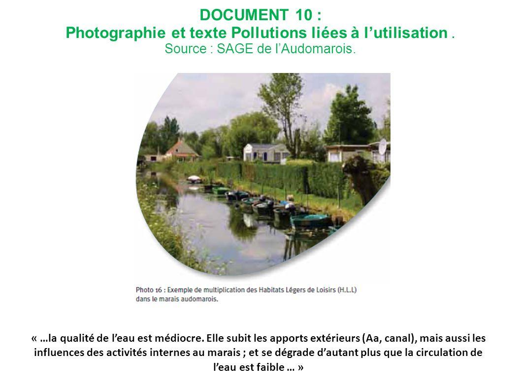 DOCUMENT 10 : Photographie et texte Pollutions liées à lutilisation. Source : SAGE de lAudomarois. « …la qualité de leau est médiocre. Elle subit les
