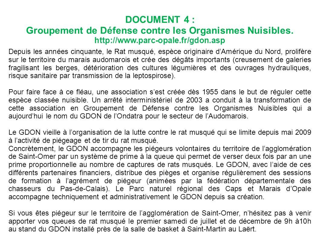 DOCUMENT 4 : Groupement de Défense contre les Organismes Nuisibles. http://www.parc-opale.fr/gdon.asp Depuis les années cinquante, le Rat musqué, espè
