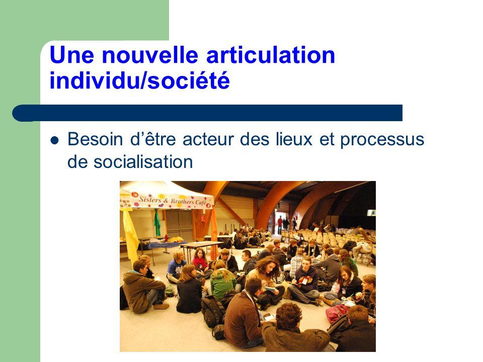 Une nouvelle articulation individu/société Besoin dêtre acteur des lieux et processus de socialisation