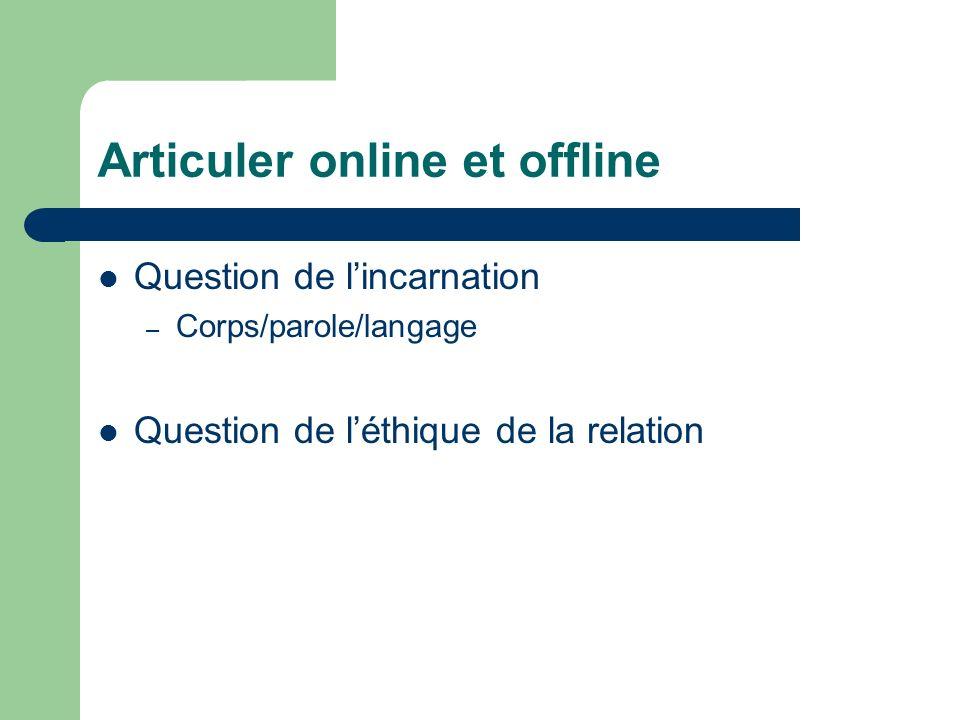 Articuler online et offline Question de lincarnation – Corps/parole/langage Question de léthique de la relation