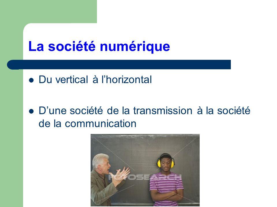 La société numérique Du vertical à lhorizontal Dune société de la transmission à la société de la communication