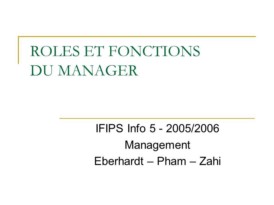 ROLES ET FONCTIONS DU MANAGER IFIPS Info 5 - 2005/2006 Management Eberhardt – Pham – Zahi