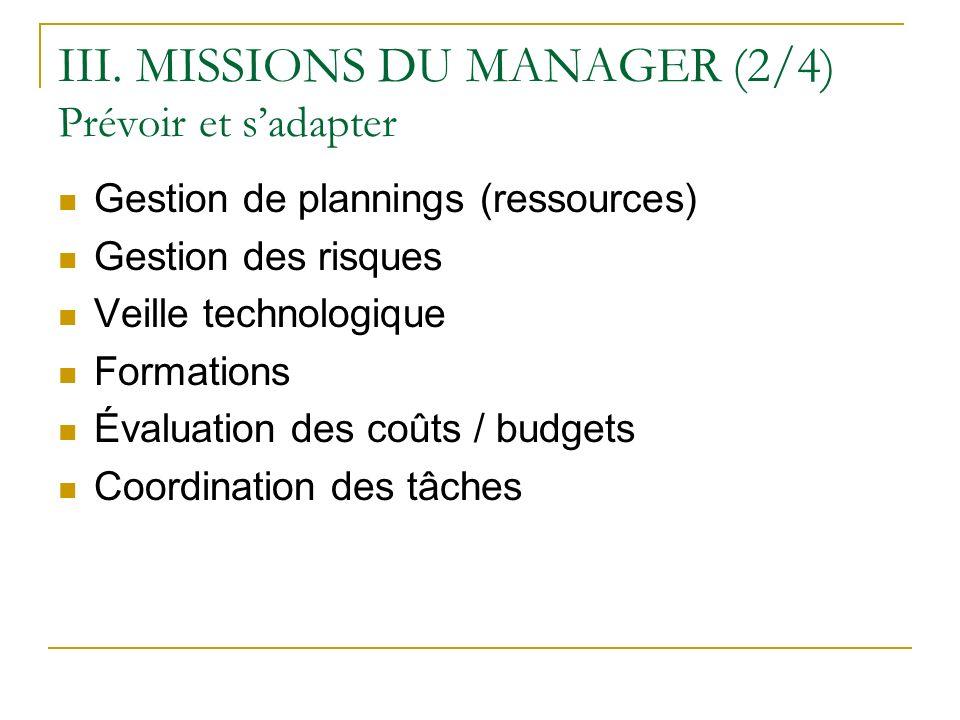 III. MISSIONS DU MANAGER (2/4) Prévoir et sadapter Gestion de plannings (ressources) Gestion des risques Veille technologique Formations Évaluation de