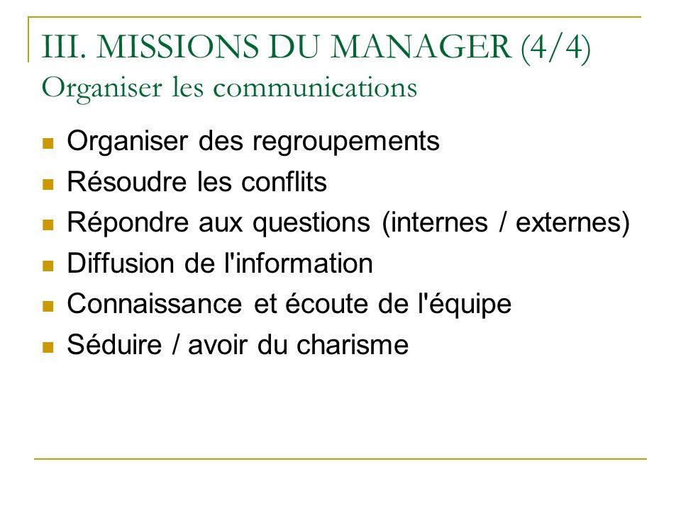 III. MISSIONS DU MANAGER (4/4) Organiser les communications Organiser des regroupements Résoudre les conflits Répondre aux questions (internes / exter