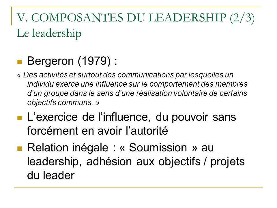 V. COMPOSANTES DU LEADERSHIP (2/3) Le leadership Bergeron (1979) : « Des activités et surtout des communications par lesquelles un individu exerce une