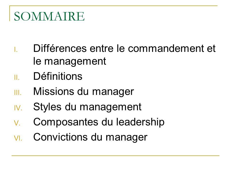 SOMMAIRE I. Différences entre le commandement et le management II. Définitions III. Missions du manager IV. Styles du management V. Composantes du lea