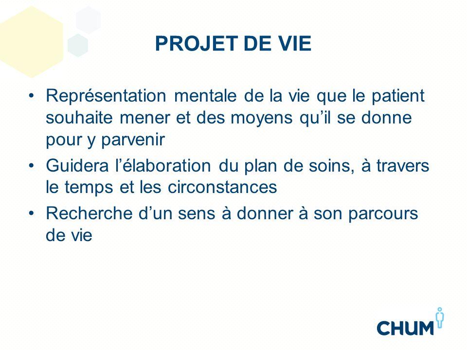 PROJET DE VIE Représentation mentale de la vie que le patient souhaite mener et des moyens quil se donne pour y parvenir Guidera lélaboration du plan