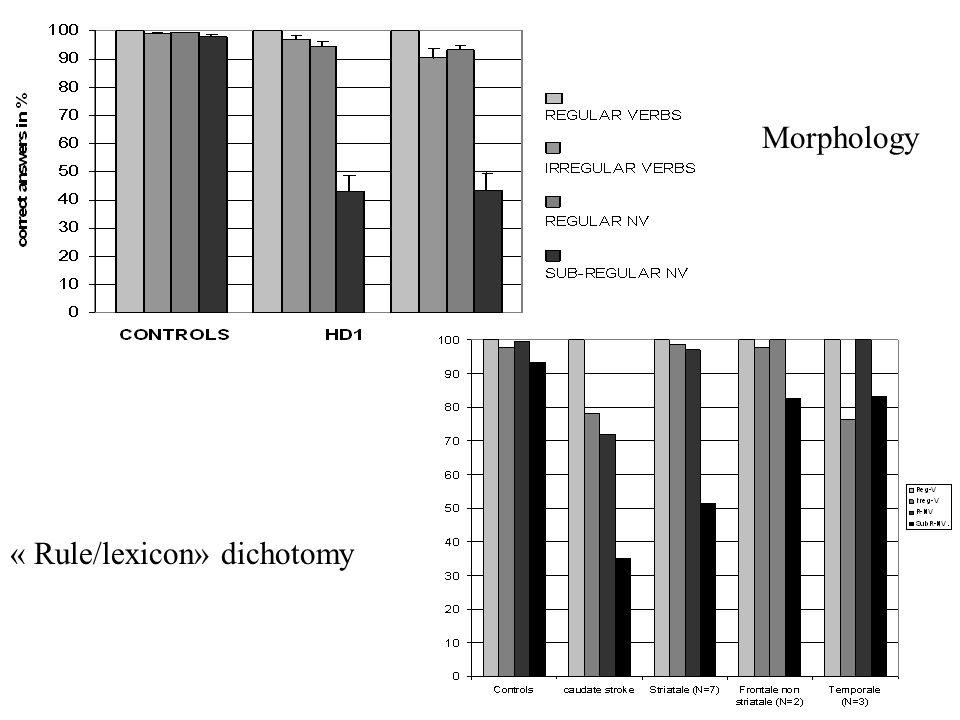« Rule/lexicon» dichotomy Morphology
