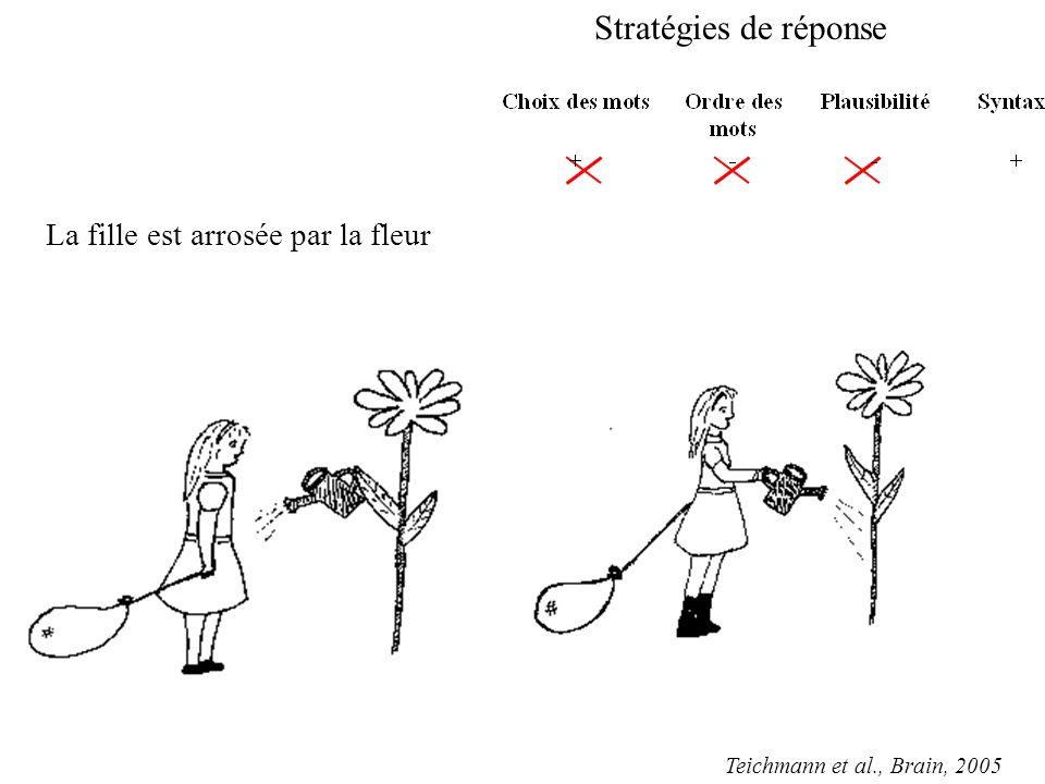 La fille est arrosée par la fleur Stratégies de réponse Teichmann et al., Brain, 2005