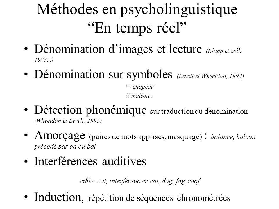 Méthodes en psycholinguistique En temps réel Dénomination dimages et lecture (Klapp et coll. 1973...) Dénomination sur symboles (Levelt et Wheeldon, 1