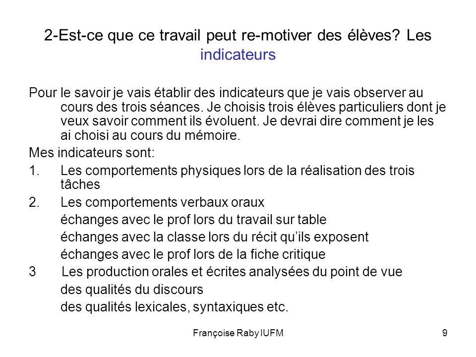 Françoise Raby IUFM9 2-Est-ce que ce travail peut re-motiver des élèves? Les indicateurs Pour le savoir je vais établir des indicateurs que je vais ob