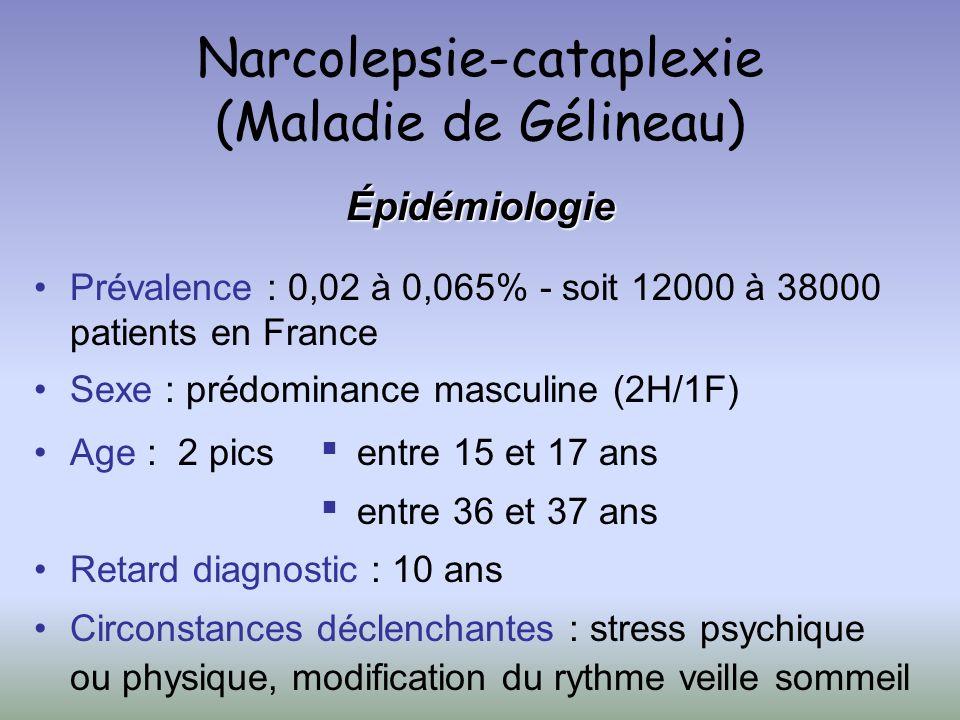 Narcolepsie-cataplexie (Maladie de Gélineau) Épidémiologie Prévalence : 0,02 à 0,065% - soit 12000 à 38000 patients en France Sexe : prédominance masc