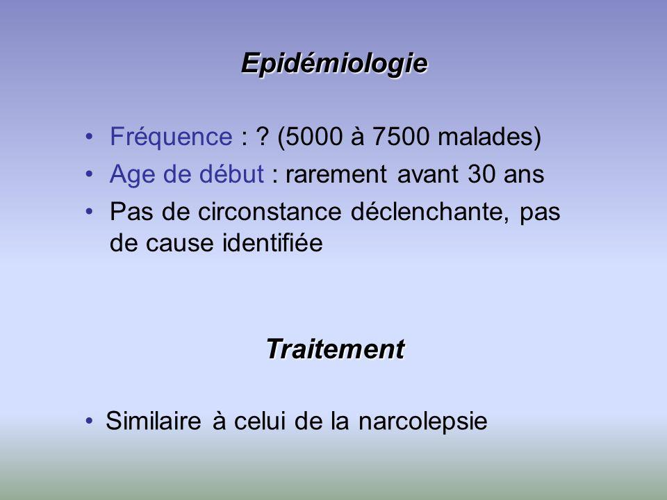 Epidémiologie Fréquence : ? (5000 à 7500 malades) Age de début : rarement avant 30 ans Pas de circonstance déclenchante, pas de cause identifiée Simil
