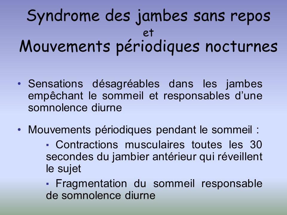 Syndrome des jambes sans repos et Mouvements périodiques nocturnes Sensations désagréables dans les jambes empêchant le sommeil et responsables dune s